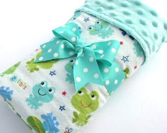 Baby Stroller Blanket - Frog Baby Blanket - Gender Neutral Baby Blanket - Aqua, Green Frog Print - Cotton Flannel Blanket - Aqua Minky