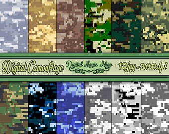 Digital Camouflage Digital Papers, Military Pattern, Seamless - 12 pcs 300dpi (paper crafts,card making,scrapbooking)