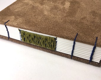 A6 faux suede journal, Coptic notebook, chenille, light, dark brown, woven spine, fabric cover notebook