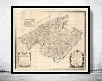 Old Map of mallorca maiorca majorca 1814