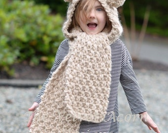 Knitting PATTERN-The Ziyon Hooded Scarf (12/18 months, Toddler, Child, Teen, Adult sizes)