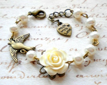 Baby First Pearls Flower Girl Bracelet Bird Bracelet Children Jewelry Ivory Pearl Bracelet Rose Flower Bracelet Flower Girl Jewelry