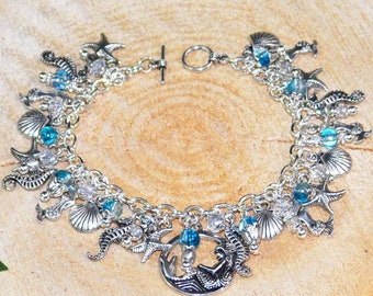Siren's Call Charm Bracelet - Pagan Jewellery featuring Mermaid, Merrow, Shells, Sea-Horse, Starfish for Sea Witch, Wiccan, Druid