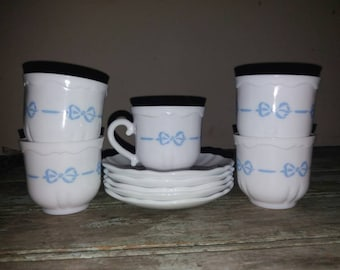 Vintage Set Of 5 Arcopal Tea Cups And Saucers With Blue Bow Design,Kitchen,French,Tableware,Gift,White,Tea,Kitchenware,French Kitchen,Retro