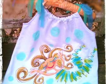 Mermaid Hand Painted Dress or Top Made to Order Girls Size YelliKelli