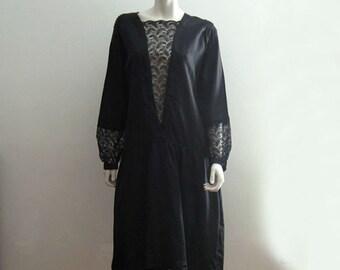 1920s Silk Dress / 20s Silk Dress / Black Silk Lace Illusion / LARGE
