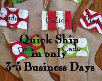 Burlap Stocking - Christmas - Trendy - Chevron Dot - Stripe Suzani print - Personalized