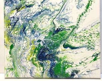 """12""""x12"""" acrylic pour on canvas, pour painting, fluid art, abstract art"""