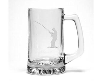 Fly Fishing Beer Mug / Free Personalization / Fisher Man Beer Glass / Marine Life Beer Mug /Personalized Beer Mug / Personalized Gift