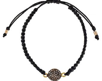 Diamond Macrame Bracelet, Diamond Disc, Diamond Jewelry, Black, Gift, Hawaii Jewelry, Beach Jewelry, Adjustable Bracelet