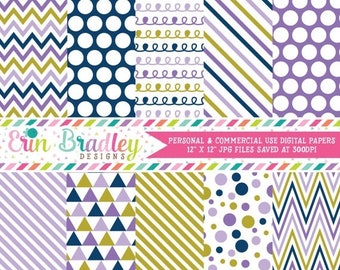80% OFF SALE Navy Purple Gold Digital Paper Pack with Chevron Stripes Polka Dots Doodles and Triangles Instant Download Commercial Use OK