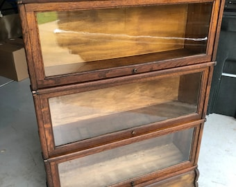 Antique c1900 Macey Oak Barrister 3 stack bookcase 34.5w11d49.5h Shipping is not free