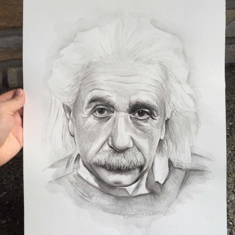Albert Einstein Original Watercolor Portrait Painting 12×16 # Muebles Einstein