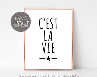 Posters and prints to download / Printable art / Wall decor living room / 'C'est la vie' Print / DIGITAL DOWNLOAD