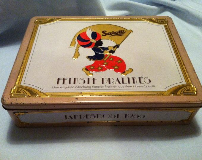 Vintage tin Sarotti Chocolates tin cans
