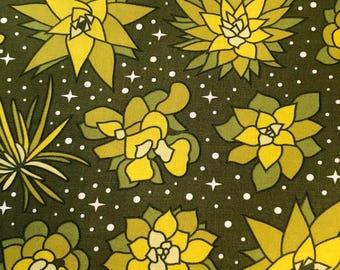 Terrarium in Wasabi Succulents by Elizabeth Hartman for Robert Kaufman Fabrics