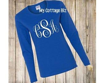 Monogram TShirt, Choose Raglan, Short or Long Sleeved TShirt
