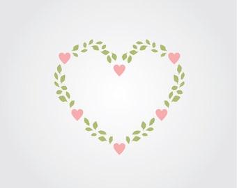 Heart Vine Craft Stencil