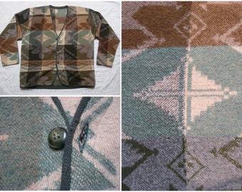 Vintage Retro Men's 90's Wool Sweater Cardigan Aztec Tribal Print Green Brown Tan Large XL Made in USA