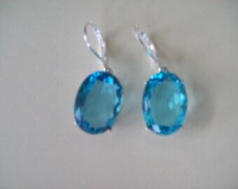 Sterling Silver Earrings -Aquamarine Blue - 18x13mm oval