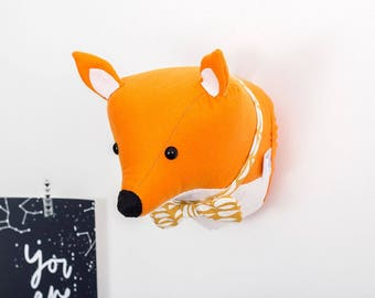 Woodland animals, kids wall art, fox, Woodland nursery, fox head, fox decor, kids room decor, forest art, faux taxidermy, nursery wall art