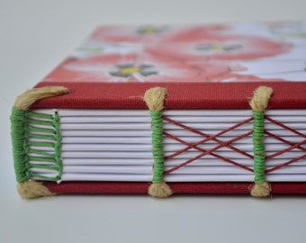 Handmade notebook with flowers - Handmade journal with exposed sewing - Notebook with cords and headband - Journal with poppies - Sketchbook
