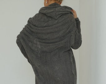 Loose Knit, Women Sweater, Hooded Sweater, Plus Size Hoodie, Loose Sweater, Trendy Plus Size, Warm Wrap, Women Blouson, Women Pullover