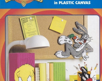 Looney Tunes Fun At Home, Leisure Arts Plastic Canvas Pattern Booklet 1962 Magnets Clock Tissue Box Key Ring & More