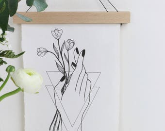 Print, hand with flowers on handmade handmade paper