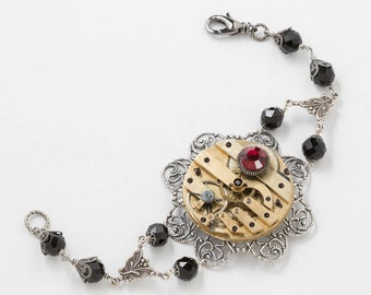 Steampunk Bracelet on Silver Filigree with Victorian Gold Pocket Watch, Red Ruby Stone & Vintage Black Crystal Beads, Steampunk Nation
