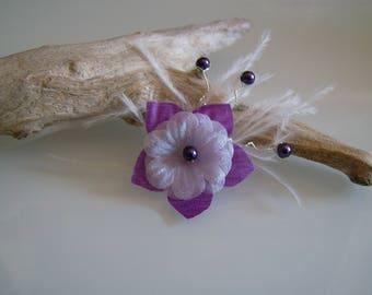 Hair clip/clamp/clip/bun hair accessory (short) child little girl dress bridal/wedding/party/ceremony purple/plum/white flower feather (cheap)