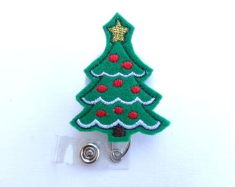 Christmas Retractable Badge Holder - Christmas Tree - green felt white red - nurse badge reel medical badge reel