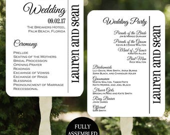 Wedding Program Fans Printable or Printed/Assembled with FREE Shipping - Modern Wedding Collection
