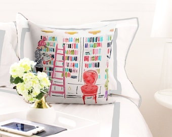 Illustrated Pillow: In The Library {Fashion pillow, cute pillow, illustration pillow, book pillow, girl's room, dorm room, reading pillow}