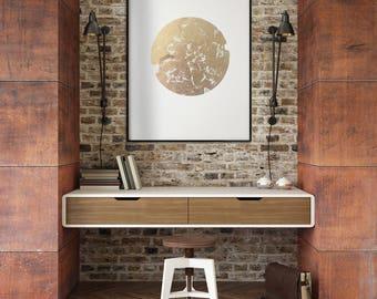 Large Abstract Gold Leaf Metallic art, modern geometric art, gold and white art, living room art, bedroom art, office art, metallic gold