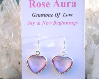 Rose Aura Heart Earrings -Double Love Energy- Wrapped inSterling Silver- A Grade !  Powerful