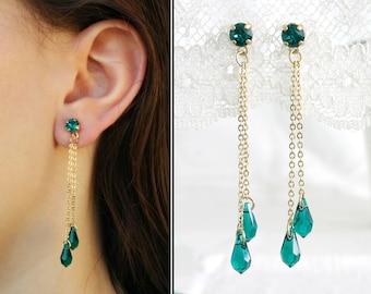 Green drop earrings, Green earrings, Emerald drop earrings, Long drop green earrings, Emerald long earrings, Gold green earrings