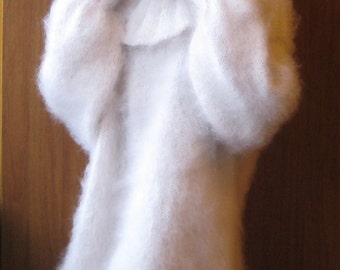 Luxurious Snowy White Hand Knitted Mohair Sweater