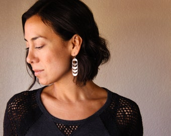 "Crescent moon shape dangle earrings handmade of recycled sterling silver shapes connected into a waterfall arrangement - ""Crescent Earrings"""