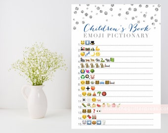 Children's Book Emoji Pictionary printable game, Silver baby shower game, silver confetti, baby book downloadable, INSTANT DOWNLOAD 010