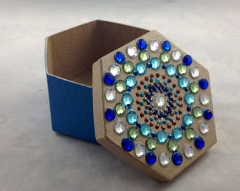 Hand Painted Box, Hexagon Box, Paper Mache Box, Aqua Blue Box, Blue and Green Decorations, Gifts under 20, Dot Art, Gift Idea, Bling Box