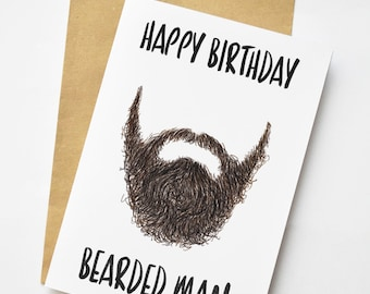 Illustrated Bearded man Birthday or Thank you Greeting Card