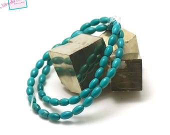 """strand 39 cm 49 beads turquoise """"olive 8 x 5 mm"""", natural stone"""