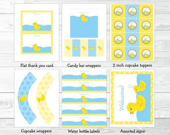 Cute Rubber Duck Birthday Party Package / Rubber Duck Birthday / Rubber Duck Decorations / Blue & Yellow / Printable INSTANT DOWNLOAD A391