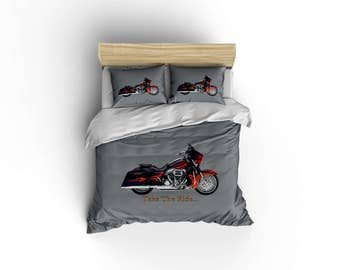 Classic Harley Davidson duvet,harley duvet covers,motorcycle decor,biker bedding,Hog owners,Made in USA,motorcycle designs.