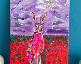 Psychedelic Hare canvas painting