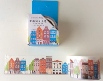 Amsterdam Street washi tape/ Houses Planner tape/  Rainbow house/ Village planner