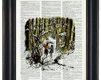 Upcycled Art Narnia Print on Vintage Dictionary Page Page Prints Nursery Decor