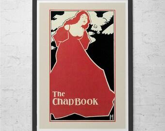 Vintage Red Chap BOOK Art Nouveau Poster 1900's Fine Art Print Art Deco Poster Belle Epoque Poster Americana