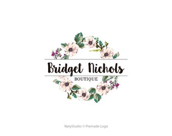 Watercolor flower logo wreath logo custom logo design premade logo watermark photography logo business logo fancy script logo floral logo